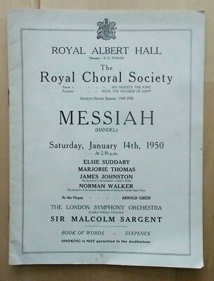 Messiah Programme Royal Choral Society At Royal Albert Hall 14th January 1950 • 6.95£