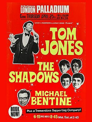 Tom Jones / Shadows Palladium  16  X 12  Reproduction Concert Poster Photo • 7.95£