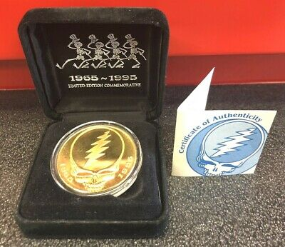 Gold Tone Grateful Dead Silver Proof Ounce Coin Steal Your Face Dancin Skeletons • 166.69£