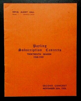 Payling Subscription Concerts Programme Second Concert 26th November 1938 Lily • 8.95£