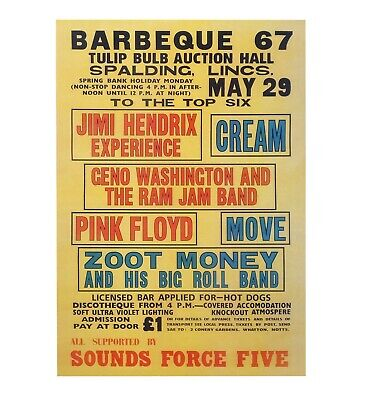 Barbeque 67 Spalding -Concert Poster - Jimi Hendrix, Pink Floyd, Cream, The Move • 13.95£