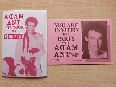 Adam Ant Tour Guest Backstage Pass & Aftershow Party Invite (red) • 3.99£