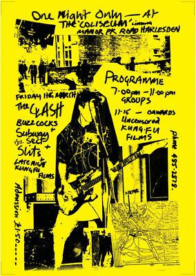 Clash Concert Poster - Buzzcocks Slits Live Harlesden 1977 New Reprinted Edition • 14.99£