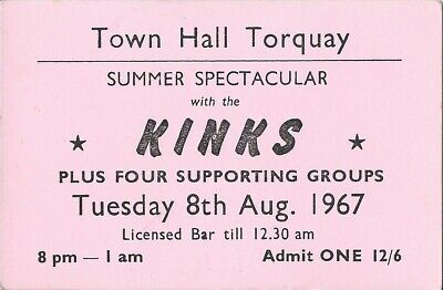 THE KINKS - VERY RARE CONCERT TICKET. TOWN HALL TORQUAY 16th AUGUST, 1966 NICE • 35£