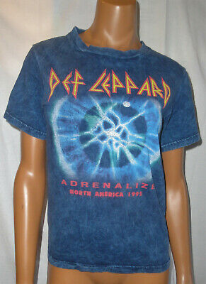 Vtg 1992 DEF LEPPARD Band T-Shirt,Adrenalize North America Tour,Blue Tye-Dye,S/M • 18.31£