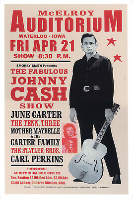 JOHNNY CASH POSTER - CARTER FAMILY LIVE IN IOWA USA 1967 CONCERT PROMO Repro • 14.99£