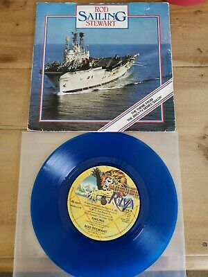 Rod Stewart Rare Blue Vinyl  Of Sailing, Given To Staff Of The HMS ARK ROYAL • 115£