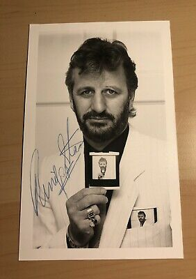 The Beatles Ringo Starr Hand Signed 1980's Promo Photo Mint Condition • 250£