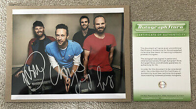 Coldplay Hand Signed Photo With Hologram COA, Chris Martin, Jonny Buckland, Etc. • 10£