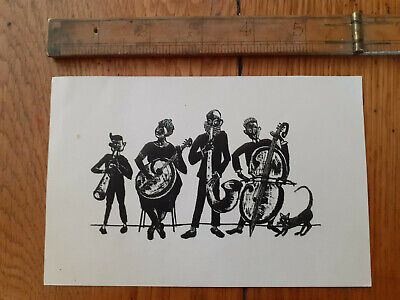 Vintage 1960s Jazz Band Quartet Card With Black Cat German? • 6£