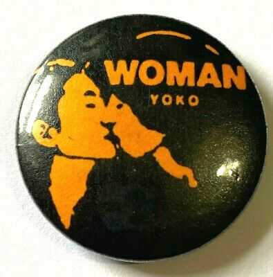 YOKO ONO - Woman - Old OG Vtg 70/80's Button Pin Badge 25mm John Lennon Beatles • 3.99£