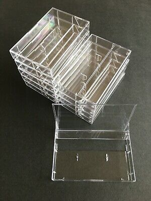 Brand New Cassette Cases - Clear With Pins To Prevent Tapes Unwinding X 10 • 12.99£
