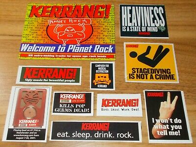 Kerrang! - Collection Of Nine Colour Vintage Stickers & Postcard • 2.49£