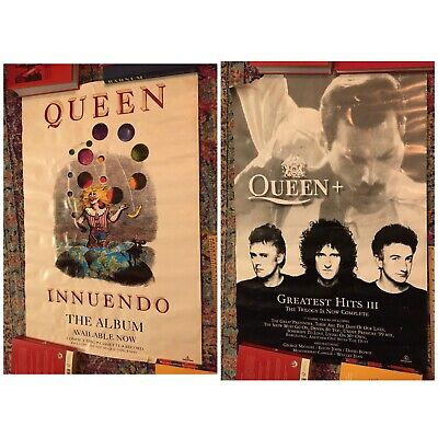 Original Queen Promotional Posters Greatest Hits Iii & Innuendo Rare Vintage X 2 • 50£