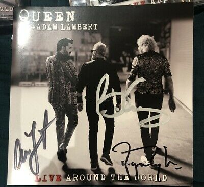 QUEEN & ADAM LAMBERT Live Around The World UK 2020 SIGNED CD + Cassette In Hand • 240£