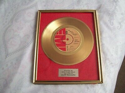 Cliff Richard Gold Plated Single Record Framed We Don't Talk Anymore • 22£