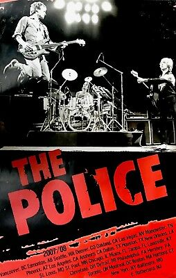 THE POLICE 2007 / 2008 REUNION TOUR OFFICIAL 1st PRINTING POSTER STING NM 2 MINT • 17.87£