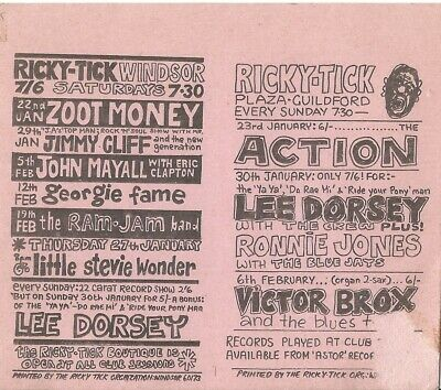 RICKY TICK  -  ERIC CLAPTON WITH JOHN MAYALL, THE ACTION Etc CONCERT FLYER 1966 • 99.99£