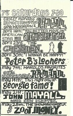 Ricky-tick Club -  Eric Clapton With John Mayall, Zoot Money  Concert Flyer 1966 • 59.99£