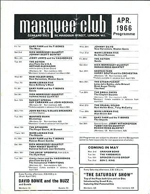 David Bowie & The Buzz, Small Faces, Bluesology Marquee Programme/flyer Apr 1966 • 99.99£