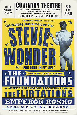 STEVIE WONDER POSTER - LIVE AT COVENTRY THEATRE UK 1969 CONCERT PROMO Reprint • 14.99£