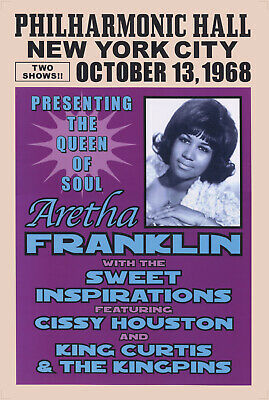 Aretha Franklin Poster - King Curtis Philharmonic Hall New York 1968 A2 Reprint • 14.99£