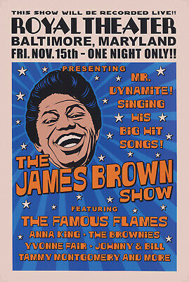 James Brown Poster - Royal Theater Baltimore USA 1964 Concert Promotional Repro • 14.99£