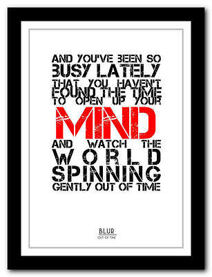 BLUR  - Out Of Time  -   Song Lyric Poster Art Typography Print - 4 Sizes • 14.95£