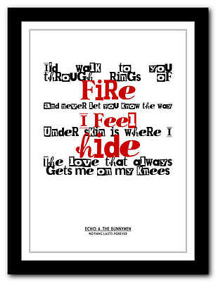 ECHO & THE BUNNYMEN - Nothing Lasts - Song Lyric Poster Art Print - 4 Sizes • 9.95£