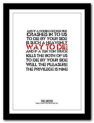 THE SMITHS -There Is A Light That Never Goes Out - Typography Print - 4 Sizes • 9.95£