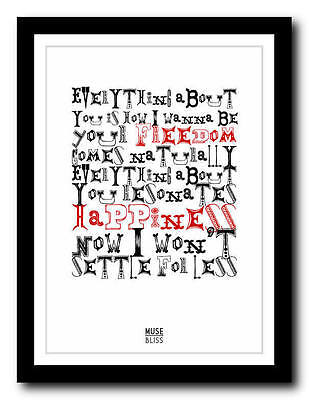 MUSE - Bliss - Song Lyric Poster Art Typography Print - 4 Sizes • 14.95£