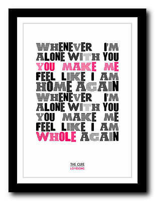 THE CURE - Lovesong - Song Lyric Poster Art Typography Print - 4 Sizes • 14.95£