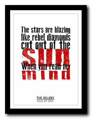 THE KILLERS - Read My Mind - Song Lyric Poster Art Typography Print - 4 Sizes • 14.95£