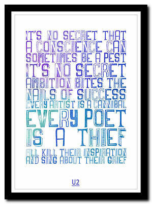 U2 - The Fly - Song Lyric Poster Typography Art Print - 4 Sizes • 14.95£