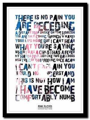 PINK FLOYD - Comfortably Numb - Lyric Poster ❤ Typography Art Print - 4 Sizes #4 • 14.95£