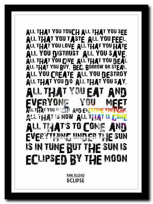 PINK FLOYD - Eclipse - Moon Song Lyric Poster ❤ Typography Art Print -4 Sizes #2 • 14.95£