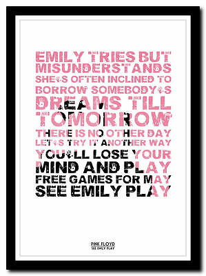 PINK FLOYD - See Emily Play ❤song Lyric Poster In 4 Sizes ❤ Typography Art Print • 14.95£
