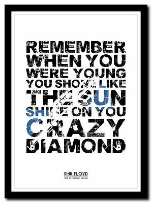 PINK FLOYD ❤ Shine On You Crazy Diamond Poster ❤ Typography Art Print - 4 Sizes • 14.95£