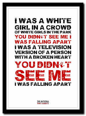 THE NATIONAL - Pink Rabbits ❤ Song Lyric Poster Typography Art Print - 4 Sizes • 9.95£