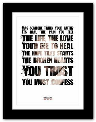 ❤  FOO FIGHTERS Best Of You ❤ Lyric Typography Poster Art Print A1 A2 A3 Or A4 • 14.95£