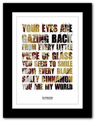 THE STONE ROSES Sally Cinnamon #2 ❤ Lyric Typography Poster Art Print A1 A2 A3 • 14.95£
