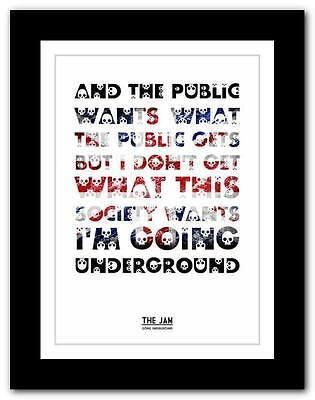 ❤ THE JAM Going Underground #3 ❤ Song Lyrics Typography Poster Art Print - A1 A2 • 14.95£