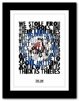 ❤ THE JAM Thick As Thieves ❤ Song Lyrics Typography Poster Art Print - A1 A2 A3 • 15.95£