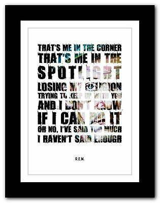 R.E.M.- Losing My Religion ❤ Song Lyrics Typography Poster Art Print - Athiest • 15.95£