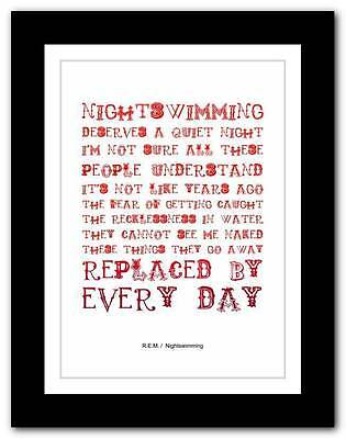 R.E.M.- Nightswimming ❤ Song Lyrics Typography Poster Art Print - A1 A2 A3 Or A4 • 14.95£