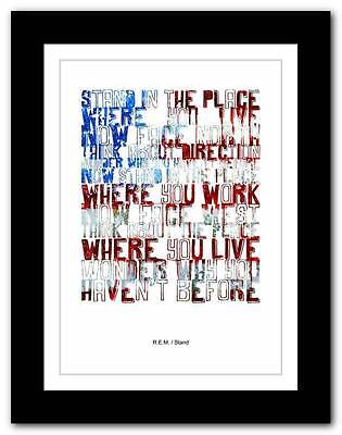 ❤ R.E.M.- Stand ❤ Song Lyrics Typography Poster Art Print - A1 A2 A3 Or A4 • 15.95£