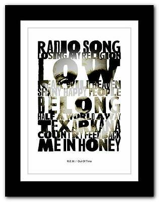❤  R.E.M. - Out Of Time  ❤ Typography Poster Art Print - A1 A2 A3 Or A4 • 15.95£