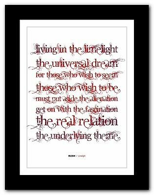❤ RUSH - Limelight ❤ Classic Rock Song Lyrics Typography Poster Art Print • 15.95£