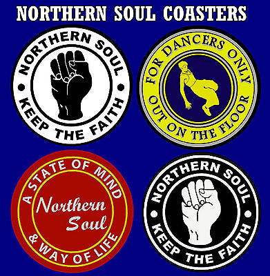 Northern Soul - Set Of 4 Novelty Coasters / Brand New - Easy Clean / Gifts • 7.99£