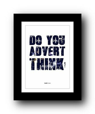 BLUR Advert #2 ❤  Song Lyrics Typography Poster Art Print • 16.95£
